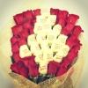Живые цветы с пожеланием